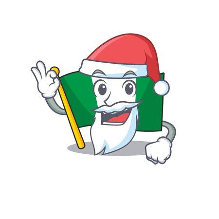 Santa nigeria flag folded in cartoon drawer vector illustration