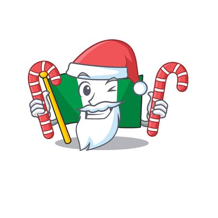 Santa with candy nigeria flag folded in cartoon drawer vector illustration