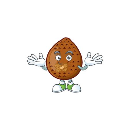 Silent salak fruit character on white background vector illustration Çizim