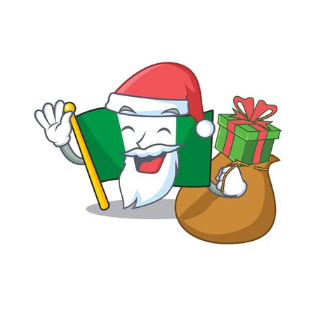 Santa with gift nigeria flag folded in cartoon drawer vector illustration Çizim