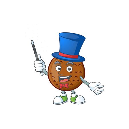 Magician salak fruit character on white background vector illustration
