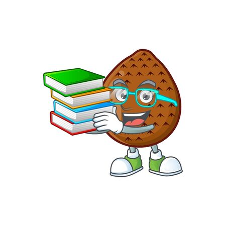 Student with book salak fruit character on white background vector illustration 일러스트