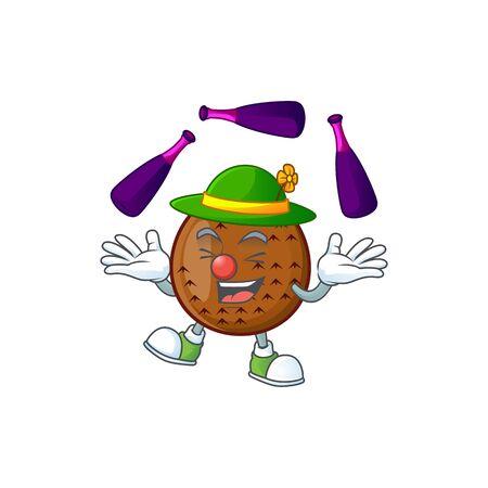 Juggling salak fruit character on white background vector illustration