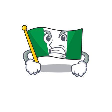 Angry flag nigeria mascot shaped a cartoon vector illustration