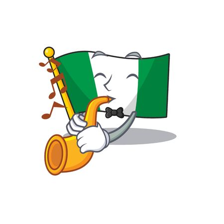 With trumpet flag nigeria mascot shaped a cartoon vector illustration