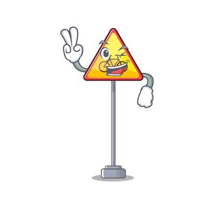 Two finger no cycling character shaped a mascot vector illustration Иллюстрация