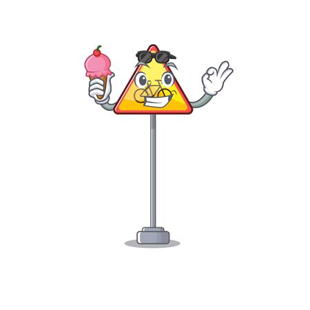 With ice cream no cycling character shaped a mascot vector illustration