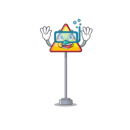 Diving no cycling character shaped a mascot vector illustration