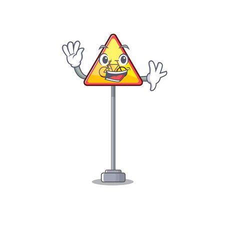 Waving no cycling character shaped a mascot vector illustration Illustration
