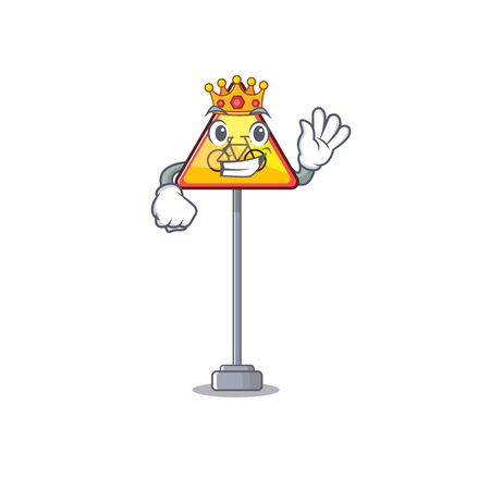 King no cycling cartoon on roadside a vector illustration Иллюстрация