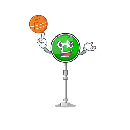 With basketball turn right isolated in the mascot vector illustration