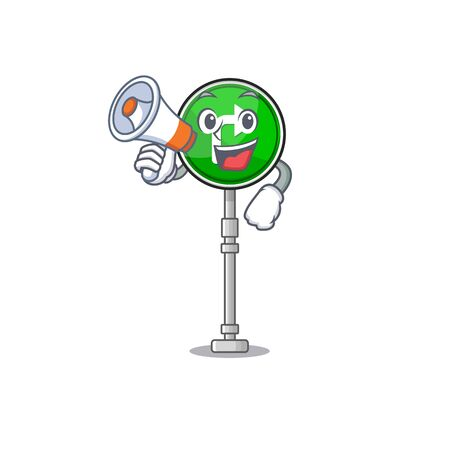 With megaphone turn right isolated in the mascot vector illustration