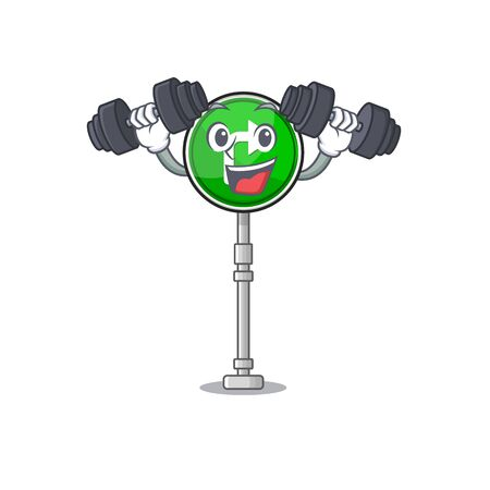 Fitness turn right isolated in the mascot vector illustration