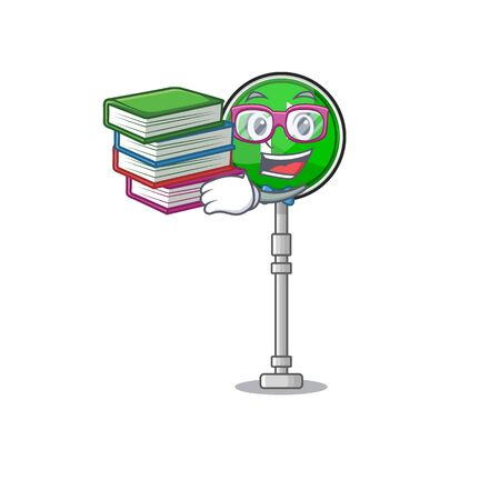 Student with book toys turn character right on chair vector illustration