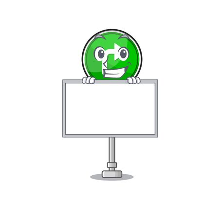 Grinning with board turn right isolated in the mascot vector illustration