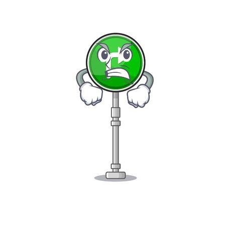 Angry turn right shape with the cartoon vector illustration Illusztráció