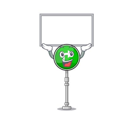Up board turn right isolated in the mascot vector illustration