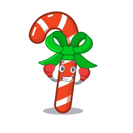 Boxing mascot candy cane in cartoon jars