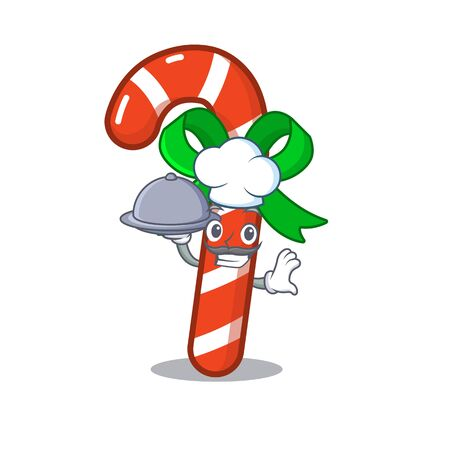 Chef with food candy cane character shaped a cartoon 向量圖像