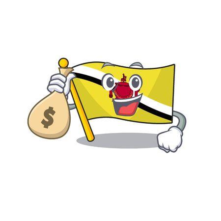 With money bag flag brunei darussalam on a cartoon 向量圖像