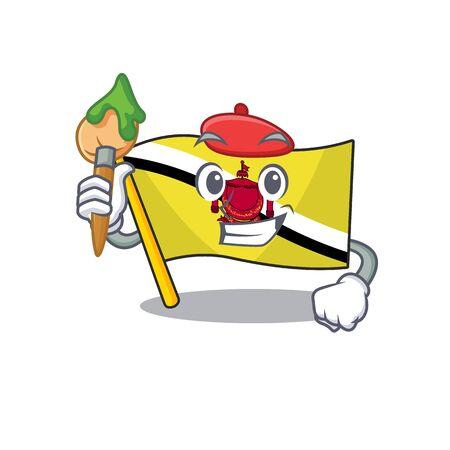 Artist flag brunei darussalam on a cartoon vector illustration