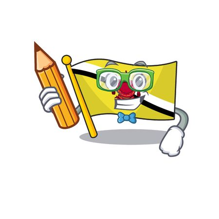 Student flag brunei darussalam mascot shaped cartoon