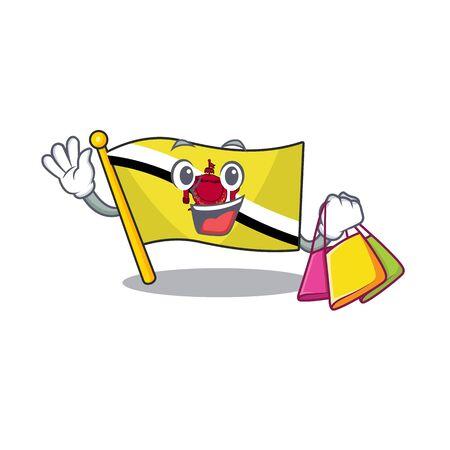 Shopping flag brunei darussalam mascot shaped cartoon