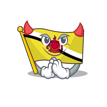 Devil flag brunei darussalam isolated with mascot