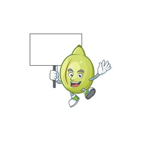 Bring board gubinge fruit cartoon for harvest symbol vector illustration 일러스트