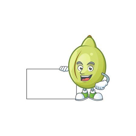 With board gubinge fruit cartoon for harvest symbol vector illustration 일러스트