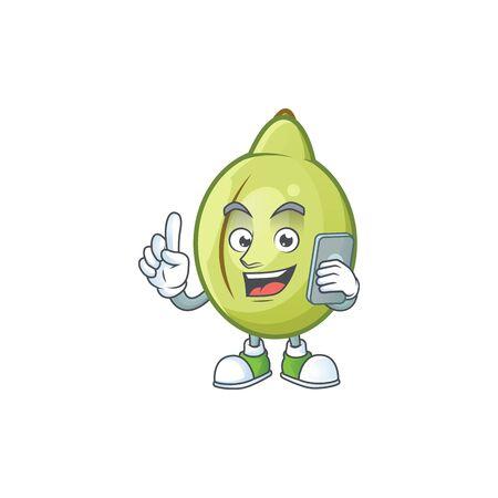 With phone gubinge fruit cartoon for harvest symbol vector illustration