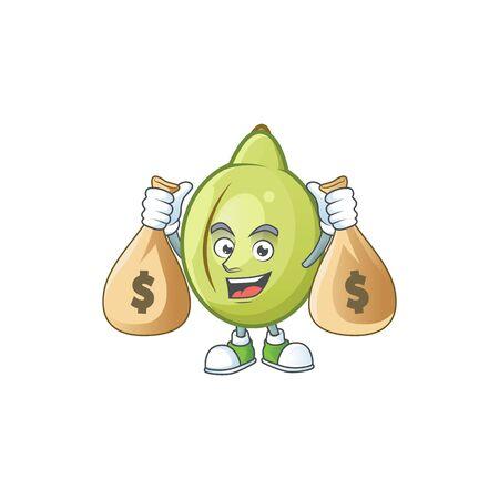 With money bag gubinge fruit cartoon for harvest symbol vector illustration