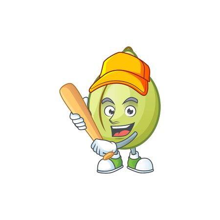 Playing baseball gubinge fruit cartoon for harvest symbol vector illustration Foto de archivo - 130133927