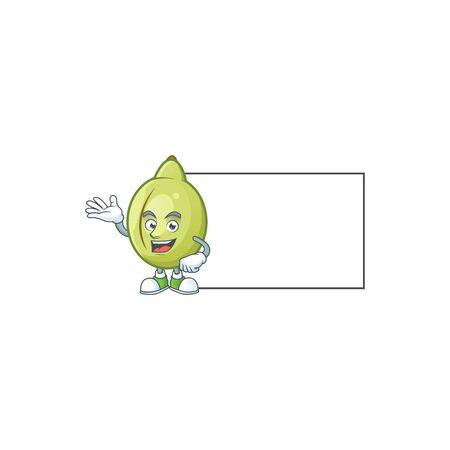 Thumbs up with board gubinge fruit cartoon for harvest symbol vector illustration Ilustrace