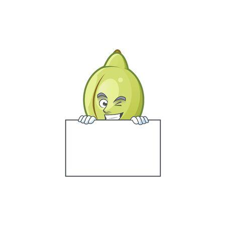 Grinning with board gubinge fruit cartoon for harvest symbol vector illustration