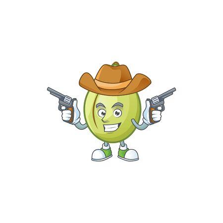 Cowboy gubinge fruit cartoon for harvest symbol vector illustration