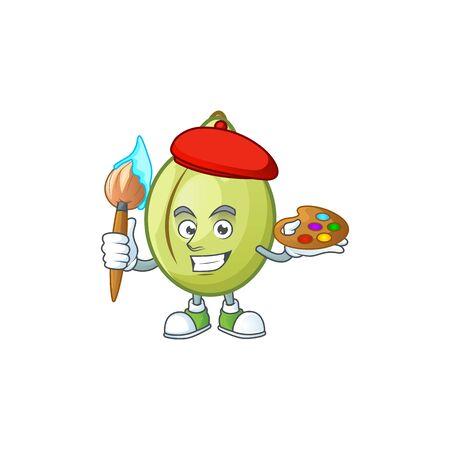 Painter gubinge fruit cartoon for harvest symbol vector illustration