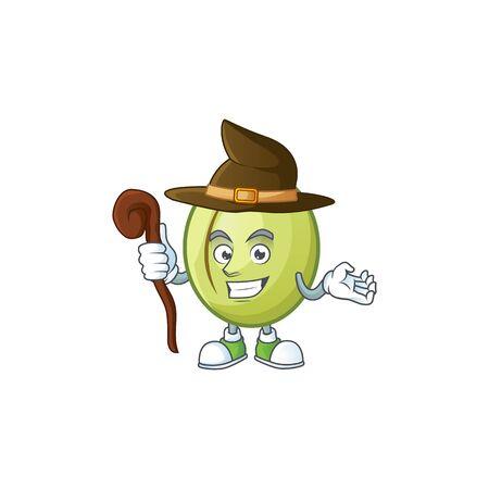 Witch gubinge fruit mascot on white background vector illustration