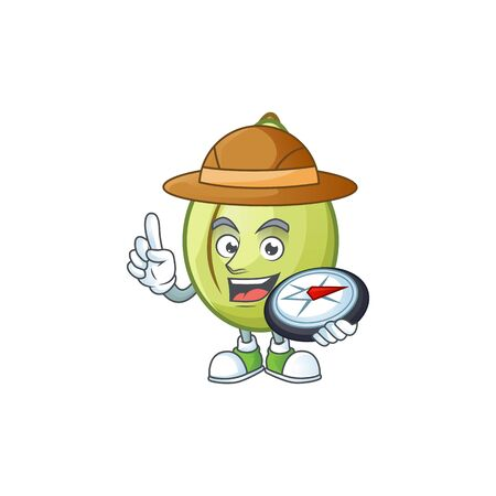 Explorer gubinge fruit mascot on white background vector illustration Banco de Imagens - 130134091