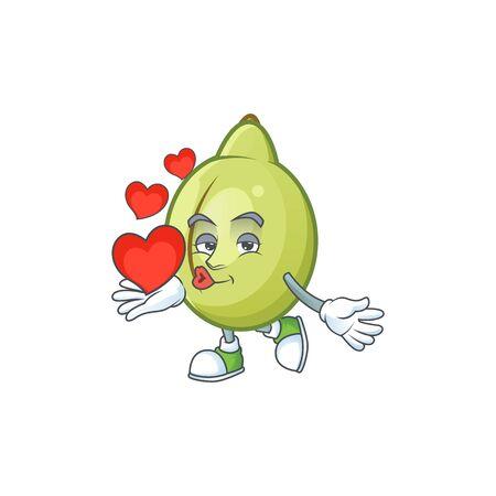 With heart gubinge fruit mascot on white background vector illustration Иллюстрация