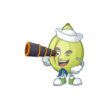 Sailor with binocular gubinge fruit mascot on white background vector illustration