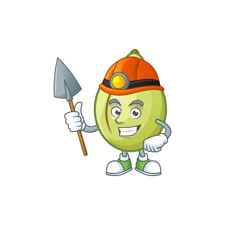 Miner gubinge fruit mascot on white background vector illustration