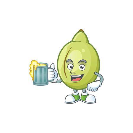 With juice gubinge fruit mascot on white background vector illustration