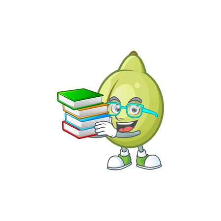 Student with book fresh gubinge cartoon character mascot style. vector illustration