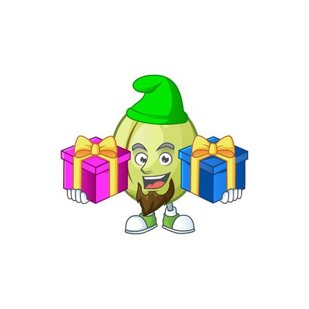 Bring two gifts fresh gubinge cartoon character mascot style. vector illustration Ilustracja