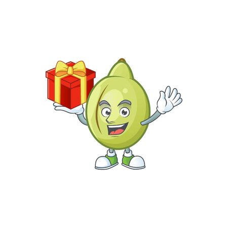 Bring gift fresh gubinge cartoon character mascot style. vector illustration