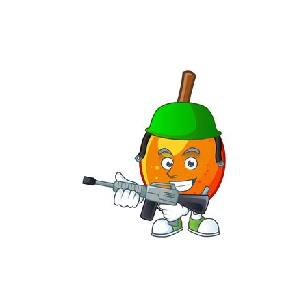 Army jocote fruit with character cartoon mascot. vector illustration