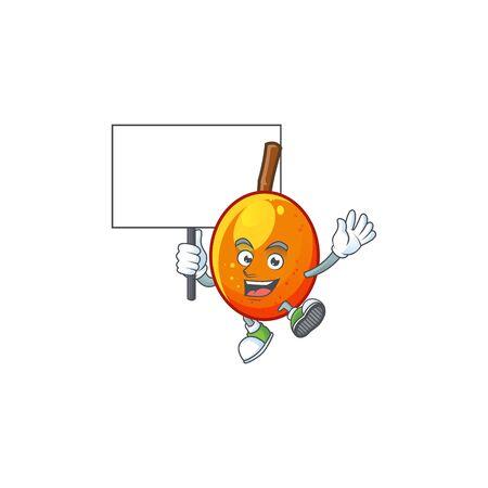 Bring board jocote fruit with character cartoon mascot. vector illustration