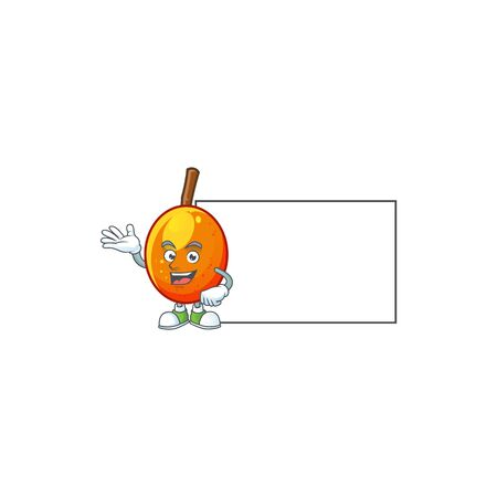 With board jocote fruit with character cartoon mascot. vector illustration