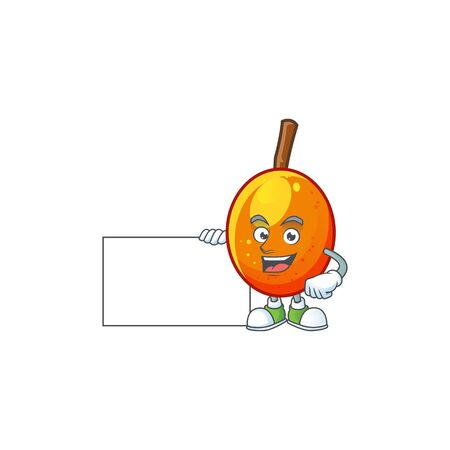 Thumbs up with board jocote fruit with character cartoon mascot. vector illustration Ilustracja